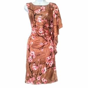 Vintage orchid bat wing burnt gold and pink dress